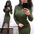 Вязаное платье до колен с узором 8plt2052, фото 5