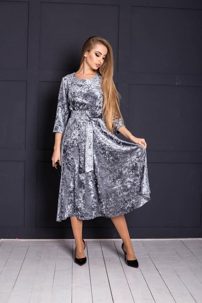 Велюровое платье миди с пышной юбкой 64plt2063