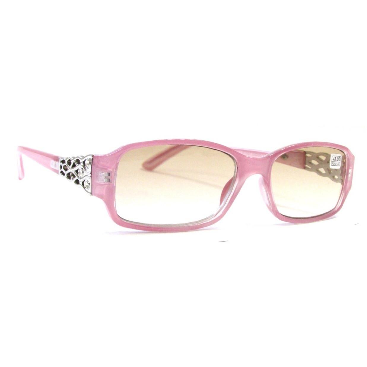 Очки в розовой оправе с тонированной линзой