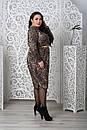 Трикотажное принтованное платье лео в больших размерах 10blr1168, фото 4