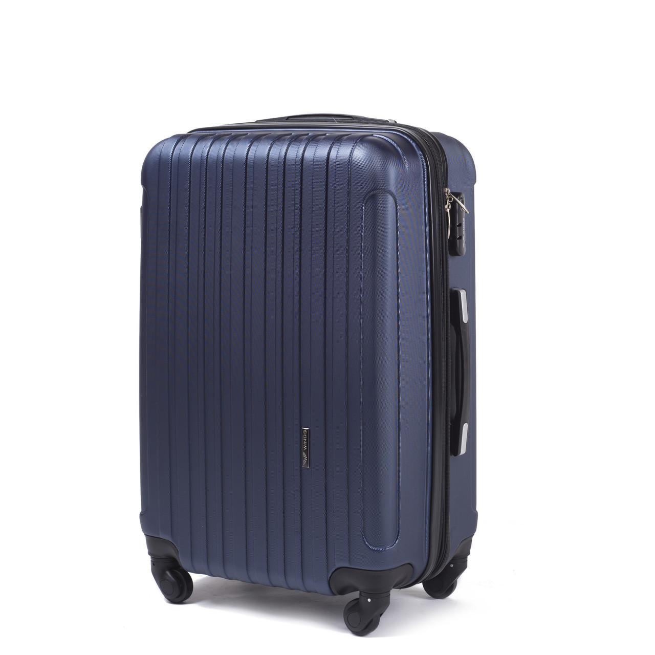 Средний пластиковый чемодан Wings 2011 на 4 колесах синий