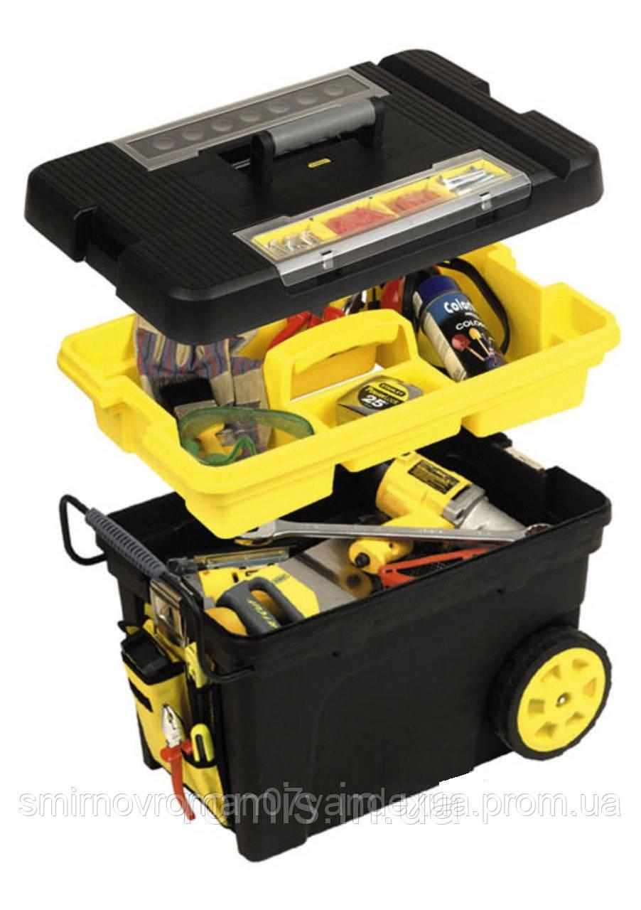 Ящик для інструменту STANLEY з колесами пластмасовий, органайзер і знімними комірками,61,3x37,5x41,9