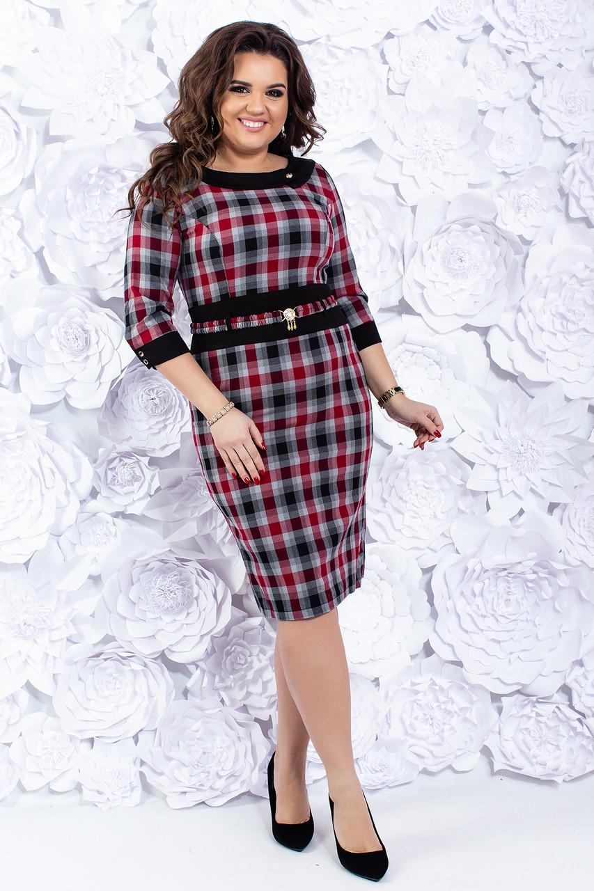 Клетчатое женское платье 48-50 р