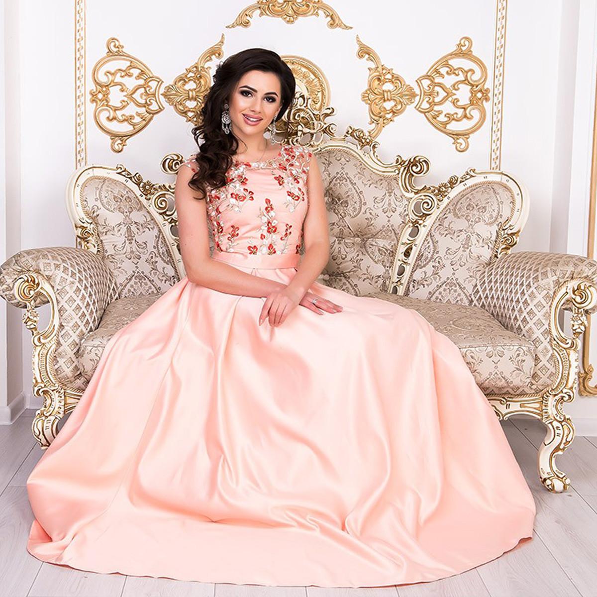 """Випускне атласне персикове плаття в підлогу розмір L """"Венеція"""""""
