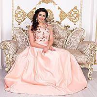"""Випускне атласне персикове плаття в підлогу розмір L """"Венеція"""", фото 1"""
