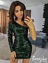 Платье из пайеток с одним рукавом 66plt2208, фото 2