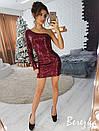 Платье из пайеток с одним рукавом 66plt2208, фото 3