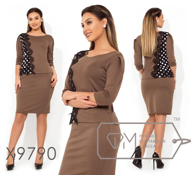 Юбочный женский костюм в большиfmx размераfmx с кофтой с декором fmx9790