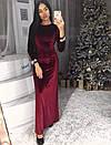 Бархатное длинное платье с открытой спинйо 63plt2246, фото 2
