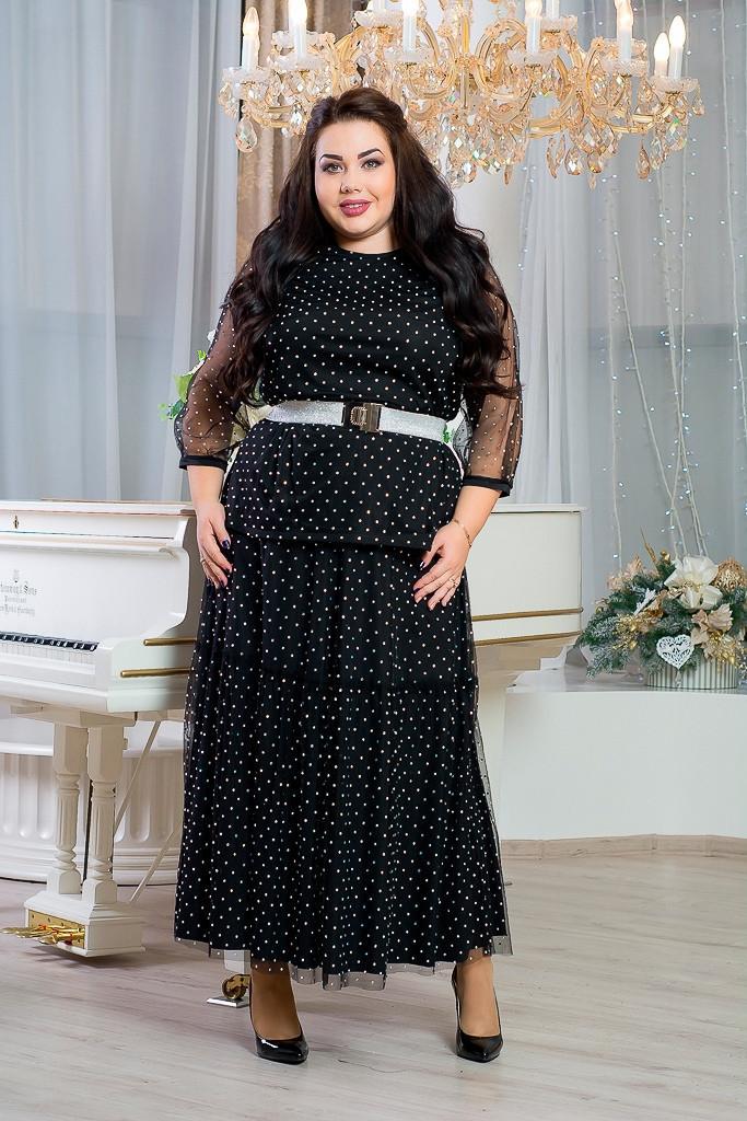 Платье длинное в больших размерах с сеткой сверху 10blr1243