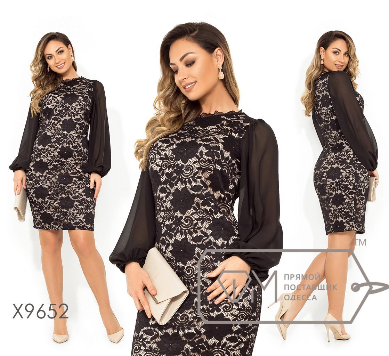 Гипюровое платье с шифоновыми рукавами в больших размерах X9652