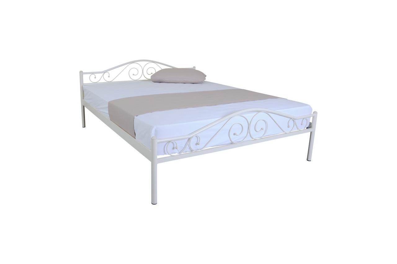 Кровать металлическая двуспальная Элис Люкс 200х140, белая