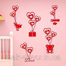 Виниловая наклейка день св валентина 8 (55х45 см набор)