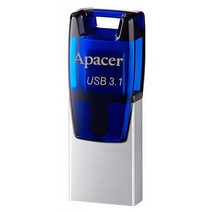 USB флеш накопитель Apacer 32GB AH179 Blue USB 3.1 OTG (AP32GAH179U-1), фото 2