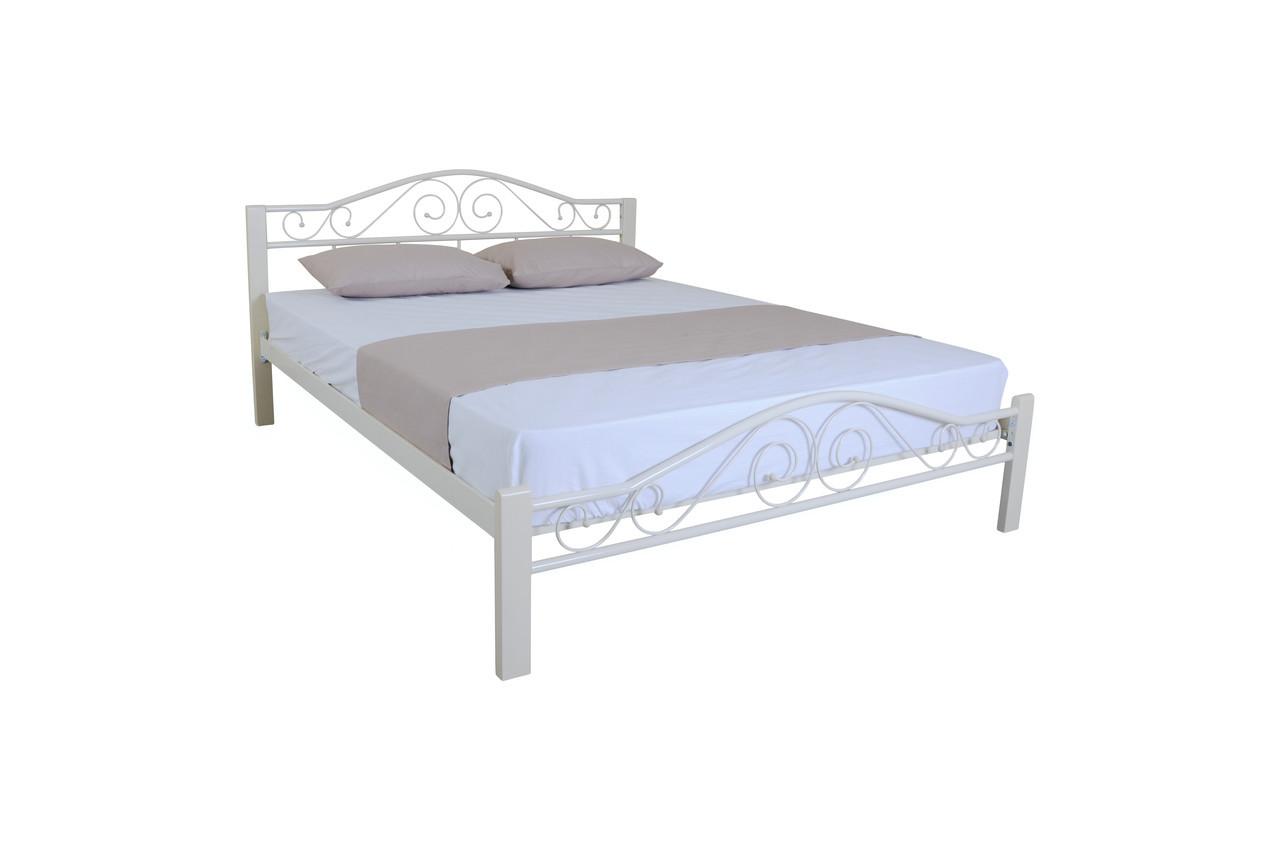 Металлическая кровать двуспальная Элис Люкс Вуд  190х120, белая