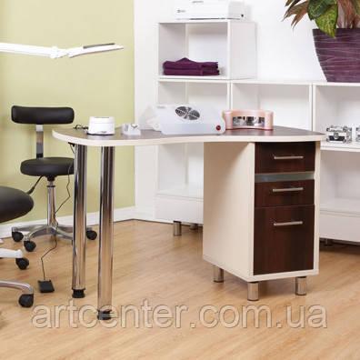 Стіл для манікюру з тумбою та УФ лампою, манікюрний стіл з висувними шухлядами