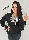 Женский свободный вязаный свитер со шнуровкой 7dis507, фото 3