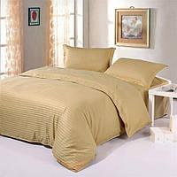 Полуторный комплект постельного белья Сатин Stripe PREMIUM, BROWN / Полуторний комплект постільної білизни / 5A12C2 - 579