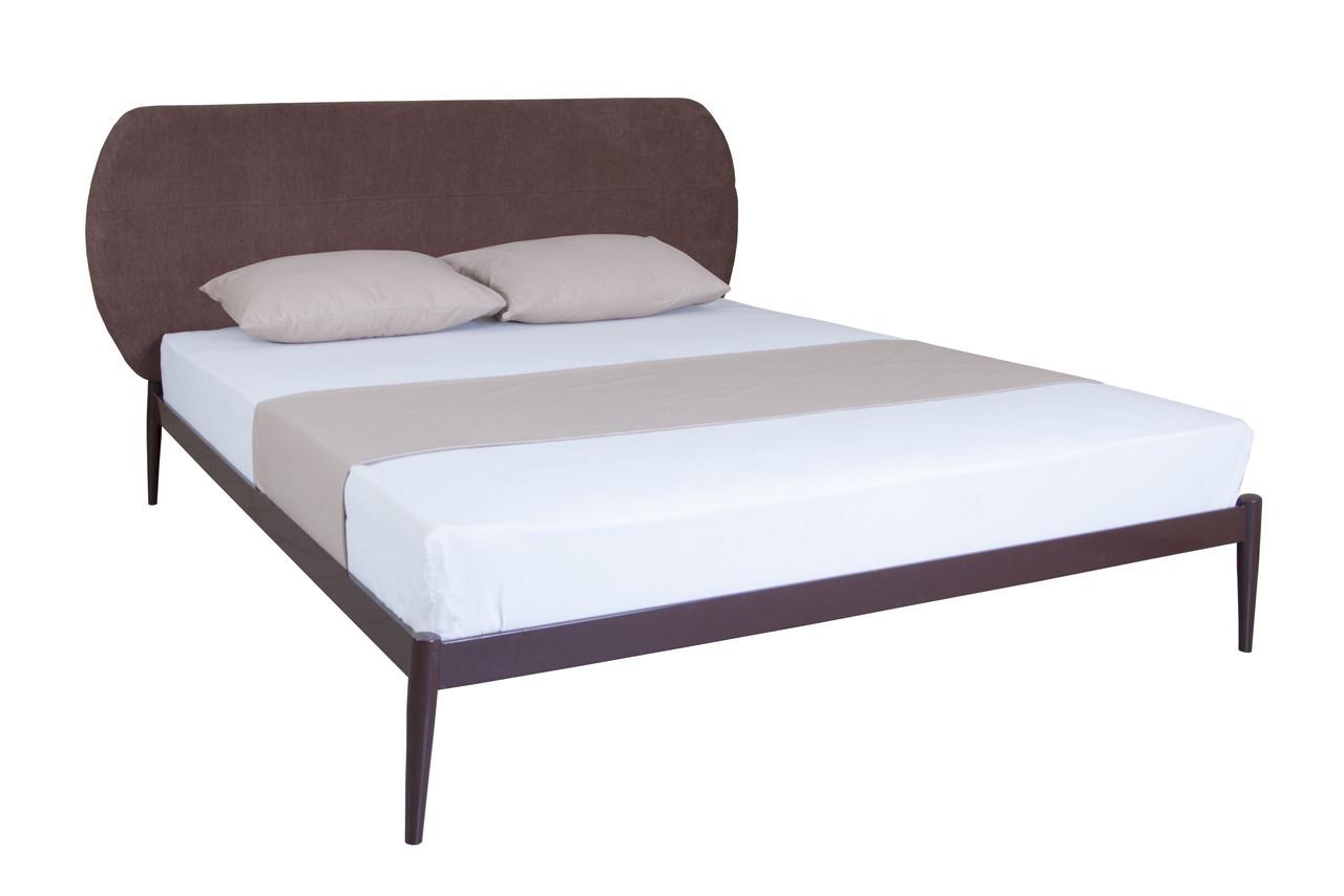 Двуспальная  кровать с мягкой спинкой Бьянка 01  190х180, ультрамарин