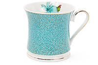 Кружка фарфоровая 375мл Ирис, цвет - голубой с золотом