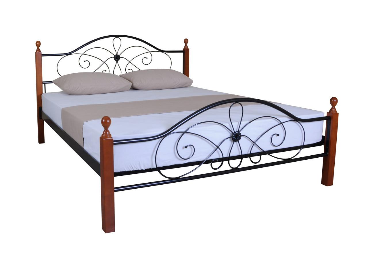 Красива двоспальне металева ліжко Феліція Вуд 200х180, бордова
