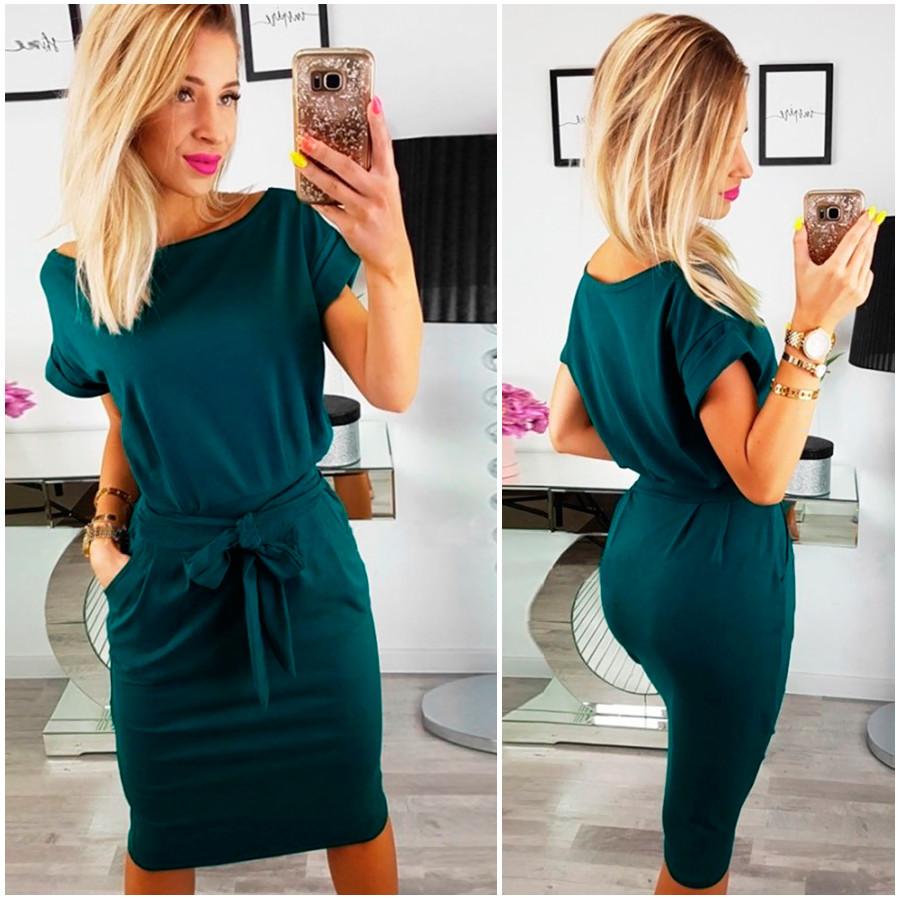 Изумрудное свободное платье Rita (Код MF-180)