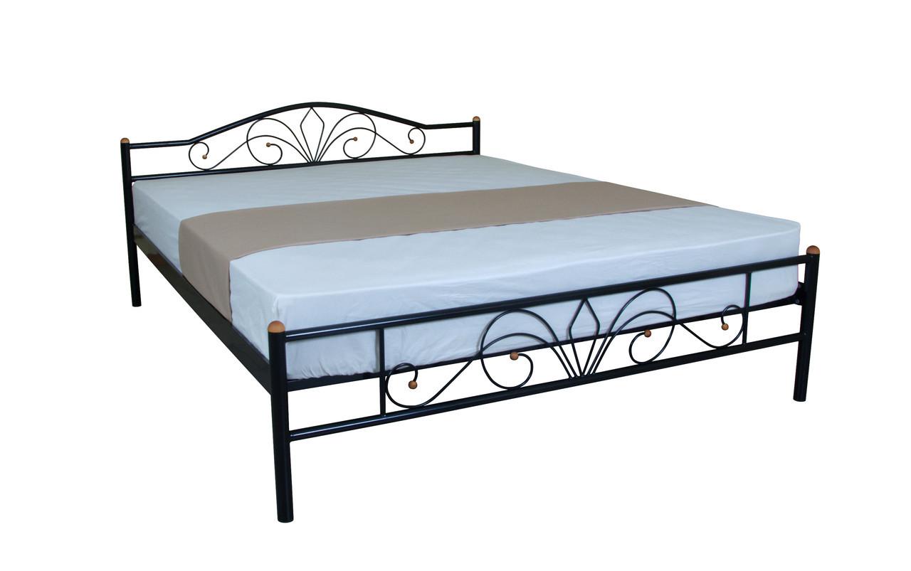 Металева двоспальне ліжко Лара Люкс 190х140, чорна