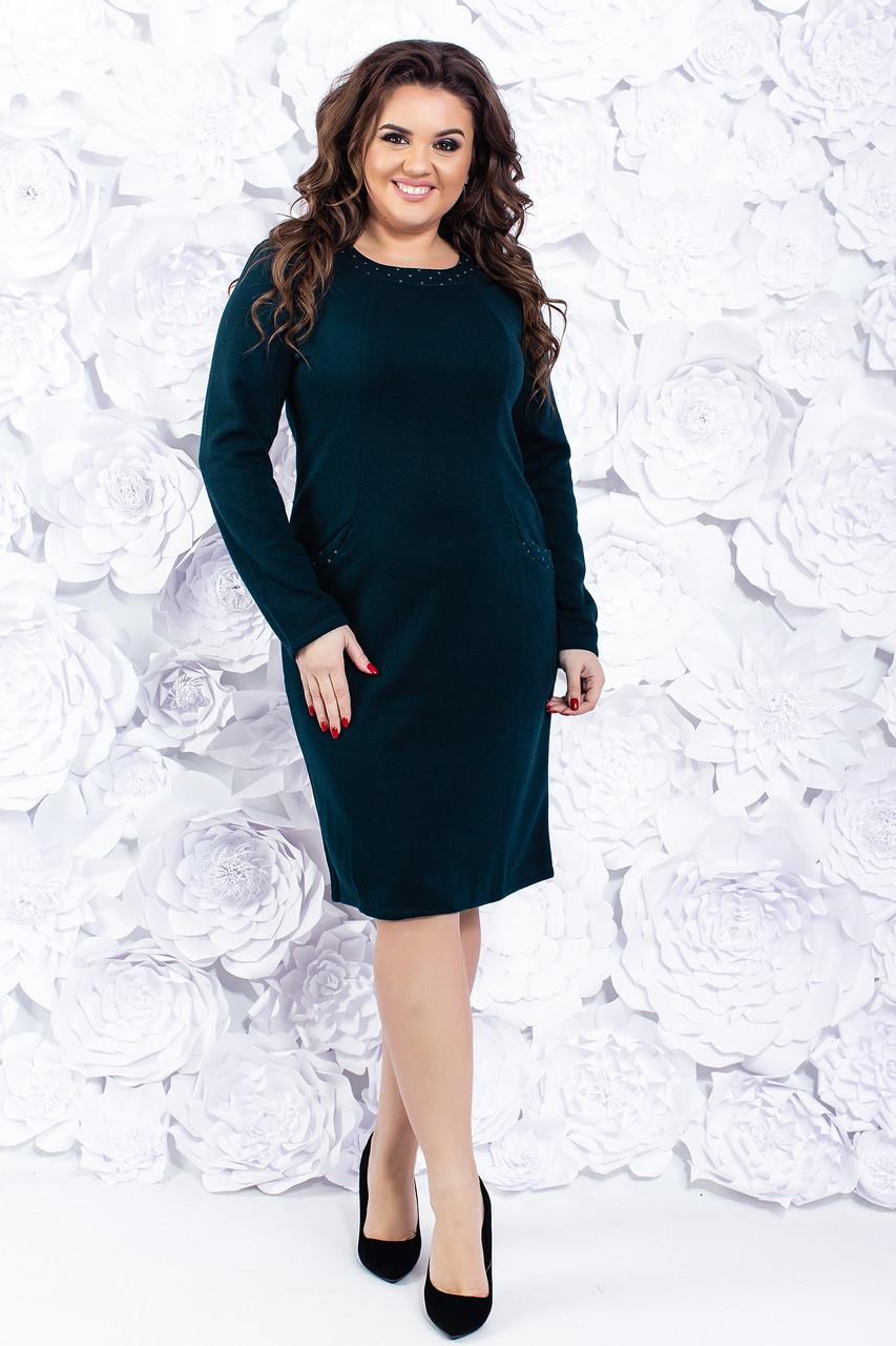 Теплое женское платье 52-54 р ( синий, зеленый )