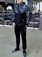 Мужской спортивный костюм Nike (black/military) (ветровка+штаны, БАРСЕТКА В ПОДАРОК), (Реплика ААА), фото 1