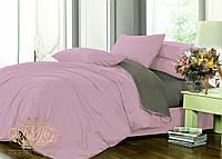 Семейный комплект однотонного постельного белья из сатина на резинке / Сімейний комплект постільної білизни / 7A12C2 - 2220