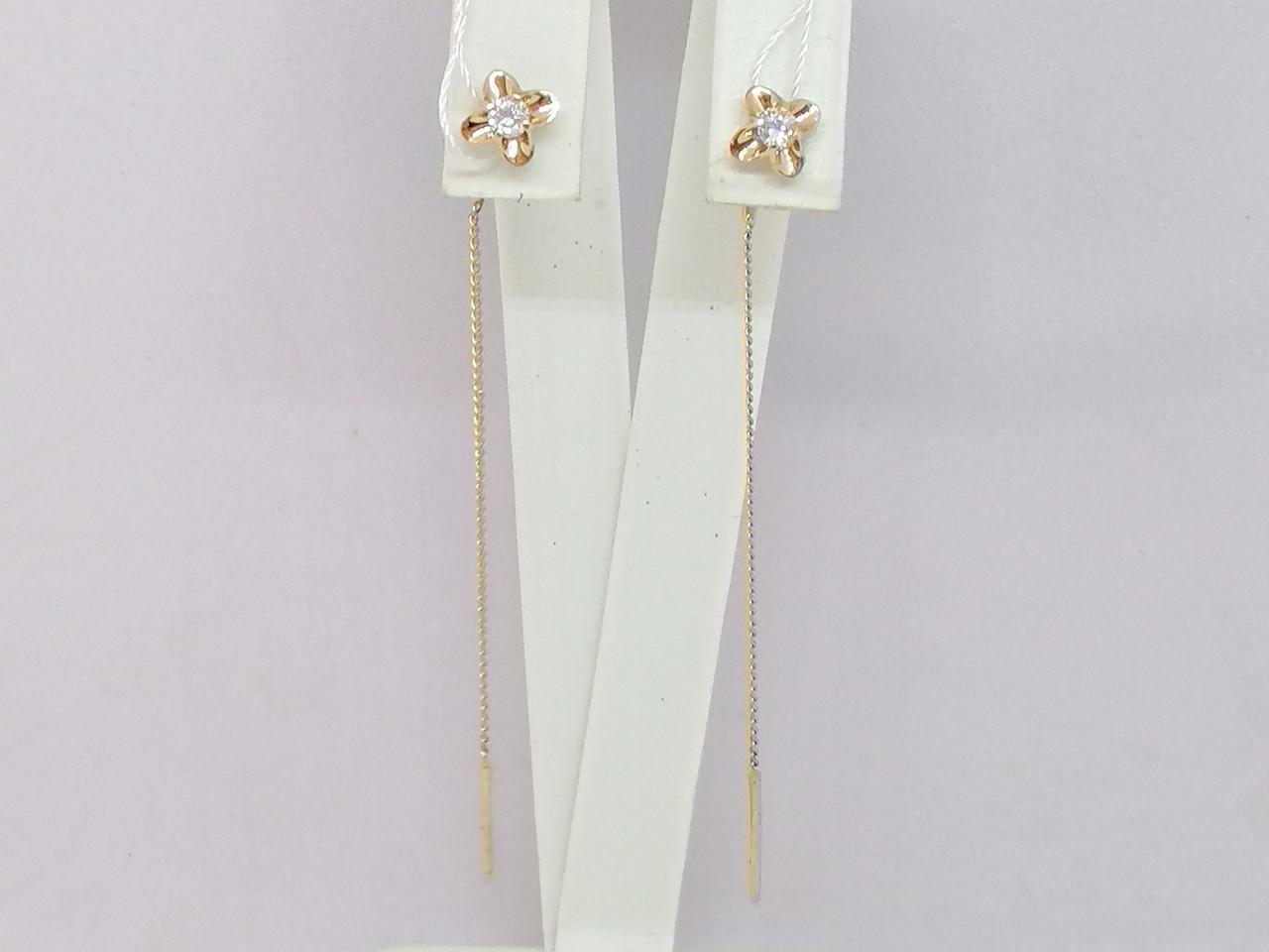 Золотые серьги-протяжки с фианитами. Артикул СПП130И