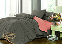 Евро комплект однотонного постельного белья из сатина на резинке / Євро комплект постільної білизни / 7A12C2 - 2303