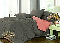 Семейный комплект однотонного постельного белья из сатина на резинке / Сімейний комплект постільної білизни / 7A12C2 - 2308