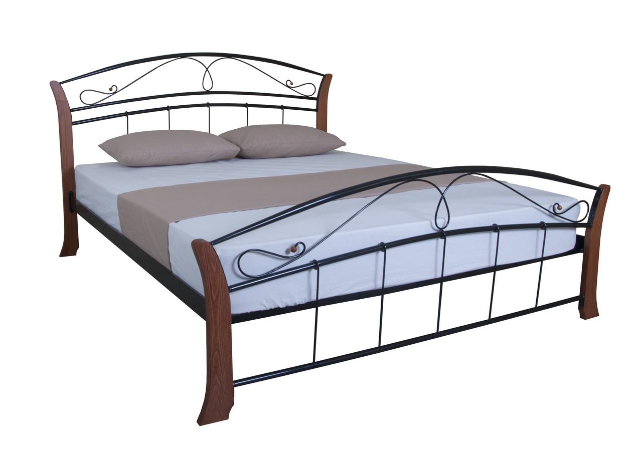 Кровать двуспальная из металла с деревом  Селена Вуд  190х180, бирюзовая