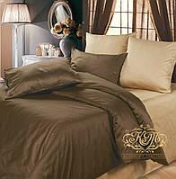 Евро комплект однотонного постельного белья из сатина / Євро комплект постільної білизни / 7A12C2 - 2367