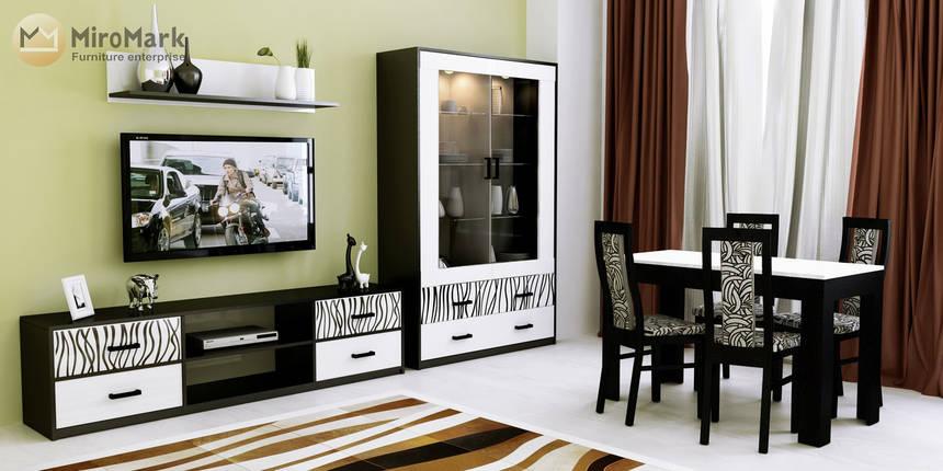 Терра тумба ТВ глянец белый-черный мат, фото 2
