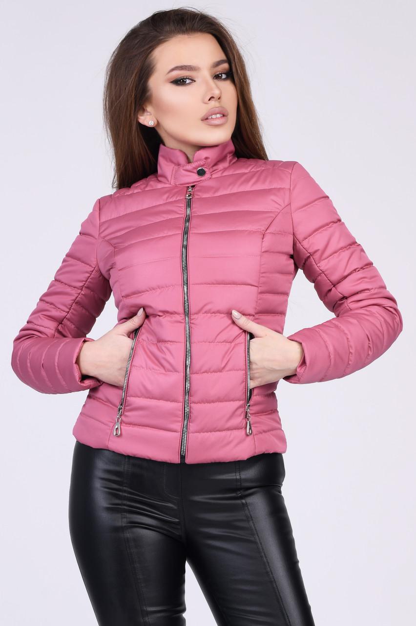 Женская короткая демисезонная куртка на синтепоне розовая
