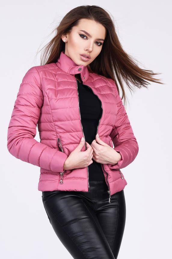 Женская короткая демисезонная куртка на синтепоне розовая, фото 2