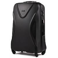 Большой пластиковый чемодан Wings 518 на 4 колесах черный