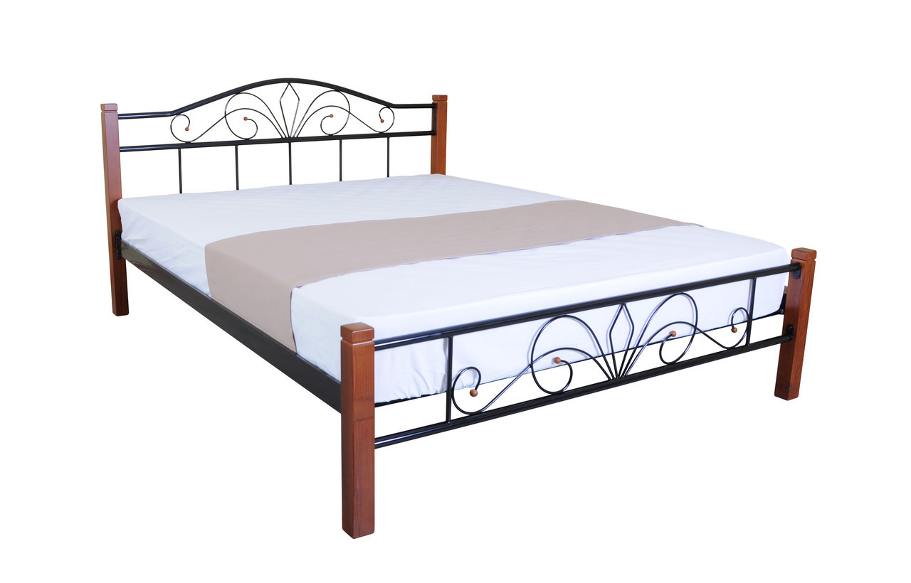 Ліжко з дерев'яними ніжками двоспальне Лара Люкс Вуд 200х180, рожева