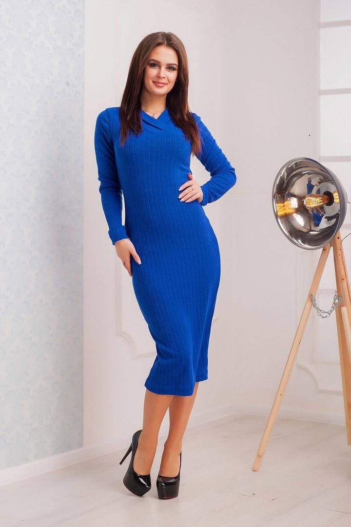 """Элегантное женское платье Электрик ткань """"Мягкаая вязка с добавлением шерсти"""" 42, 44  размер норма"""