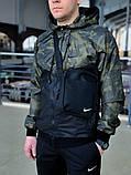 Мужской спортивный костюм Nike (black/military) (ветровка+штаны, БАРСЕТКА В ПОДАРОК), (Реплика ААА), фото 2