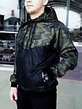 Мужской спортивный костюм Nike (black/military) (ветровка+штаны, БАРСЕТКА В ПОДАРОК), (Реплика ААА), фото 3