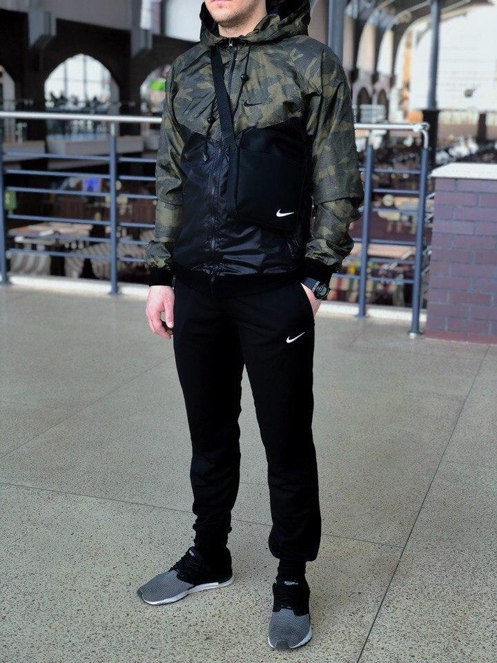 Мужской спортивный костюм Nike (black/military) (ветровка+штаны, БАРСЕТКА В ПОДАРОК), (Реплика ААА)
