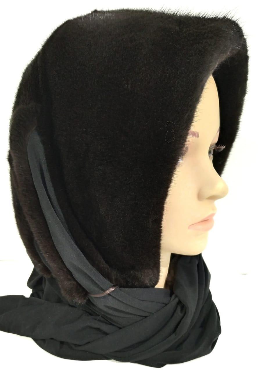 Платок-Капюшон Норковый Черный 055ШП