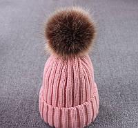 Зимняя теплая женская шапка с помпоном розовая, фото 1