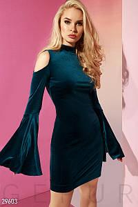 Красивое платье мини облегающее с открытыми плечами и расклешенным рукавом темно берюзовое