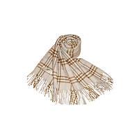 Большой женский зимний шарф в клетку бежевый