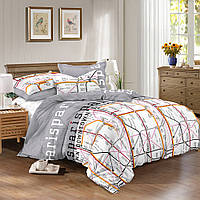 Полуторное постельное белье Квартал / сатин / Простынь на резинке / Постільна білизна сатин / 5A12C2 - 1740