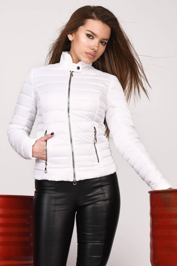 Куртка женская демисезонная белая на синтепоне , фото 2